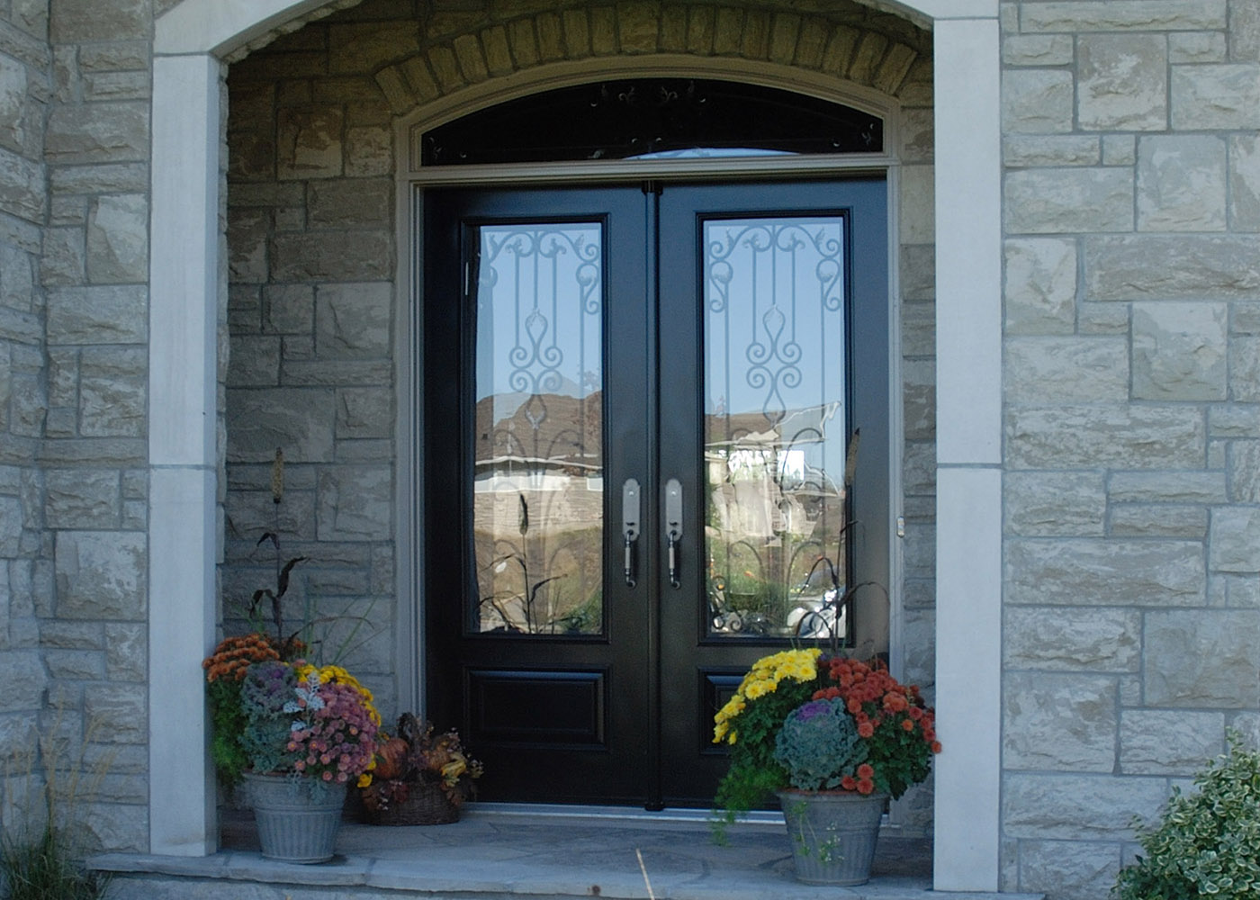 1000 #613833 Door Steel Entry Custom Wrought Iron Milan Glass save image Iron And Glass Entry Doors 40971400