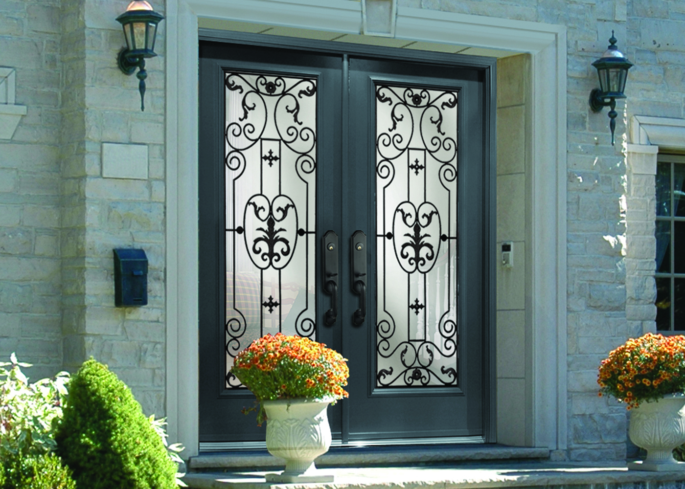 1000 #9E602D Door Steel Entry Custom Wrought Iron Rome Glass save image Iron And Glass Entry Doors 40971400